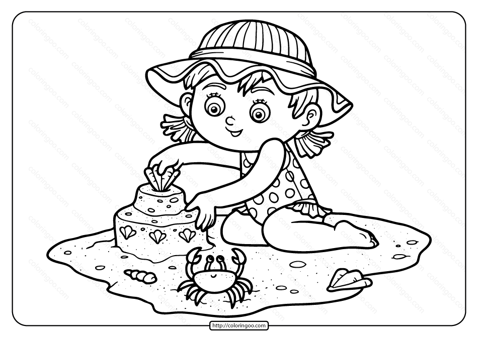 Girl Building Sand Castle Pdf Coloring Page