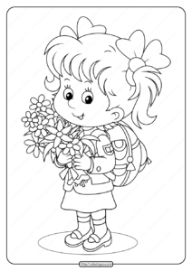 Girl Holding Spring Flowers Pdf Coloring Page
