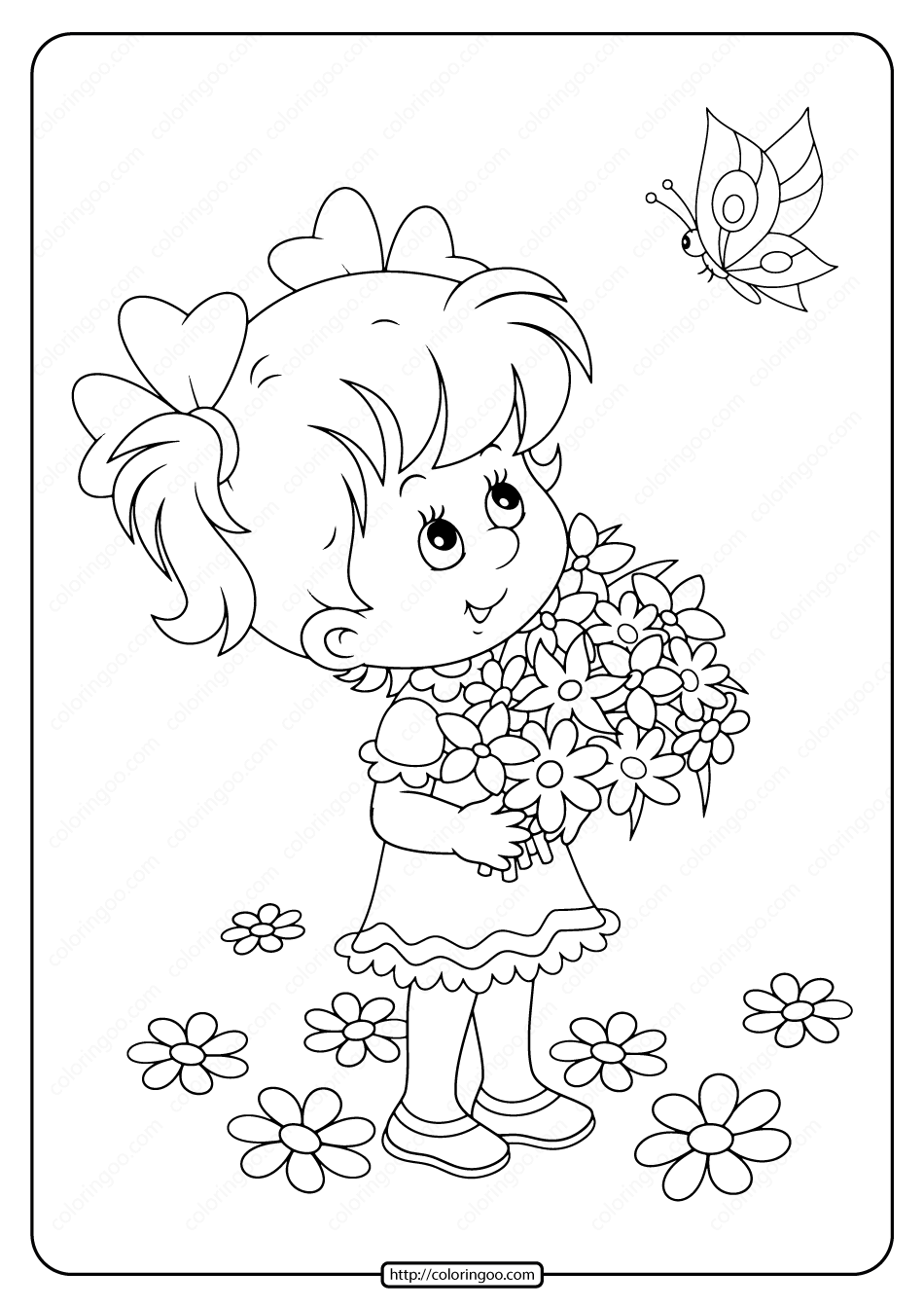 Girl with Flowers and Butterfly Coloring Page