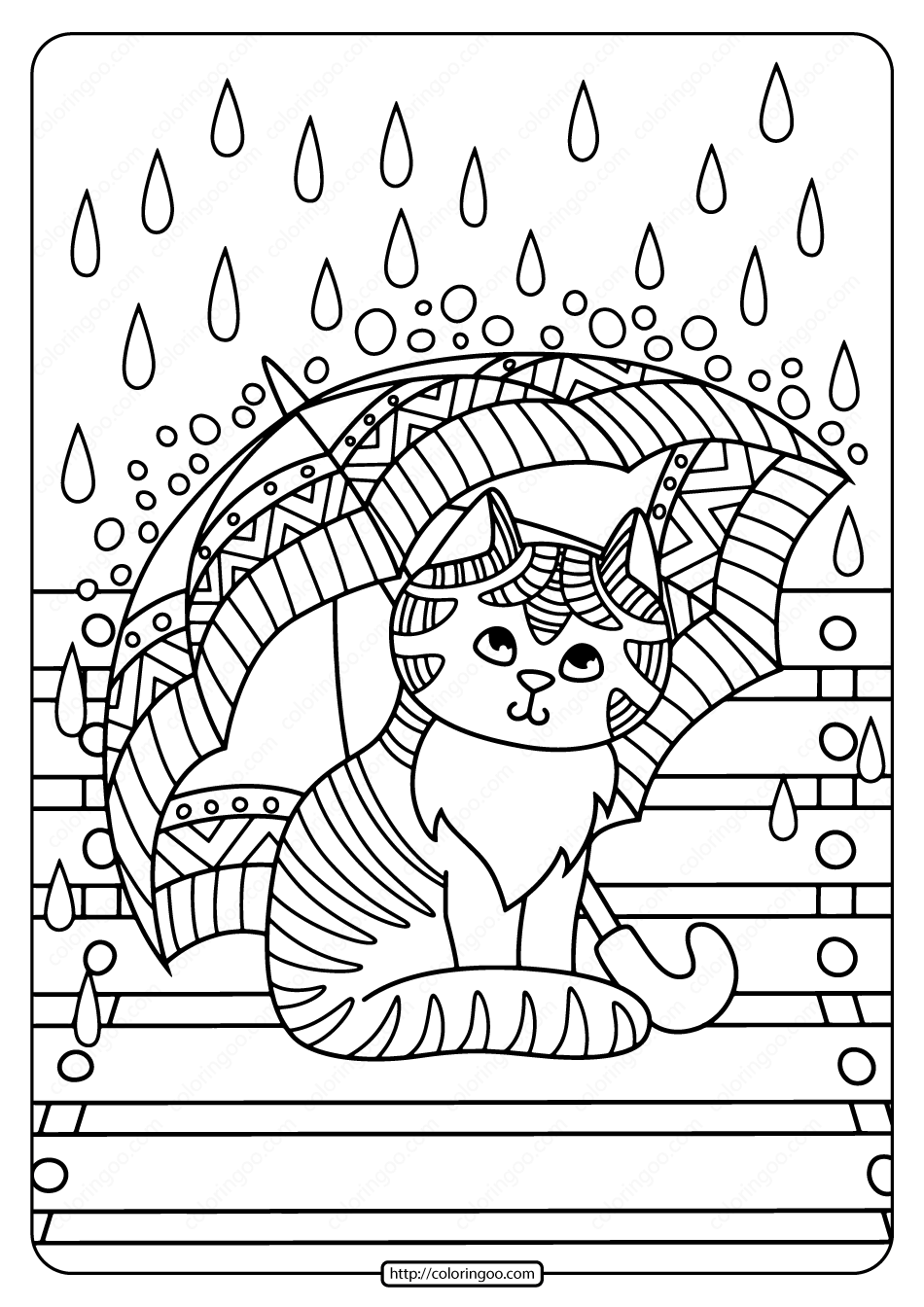 Kitten with Umbrella in the Rain Coloring Page