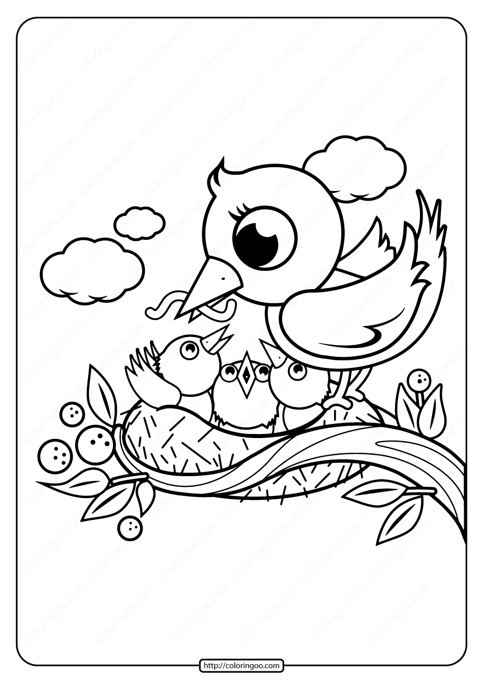 Mother and Baby Birds in Nest Coloring Page