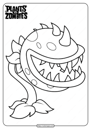Plants vs Zombies Chomper Pdf Coloring Page
