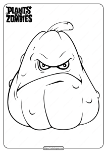 Plants vs Zombies Squash Pdf Coloring Page