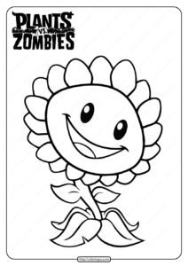 Plants vs Zombies Sunflower Coloring Page