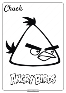 Printable Angry Birds Chuck Pdf Coloring Page