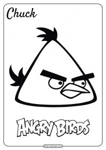 Printable Angry Birds Chuck Pdf Coloring Page