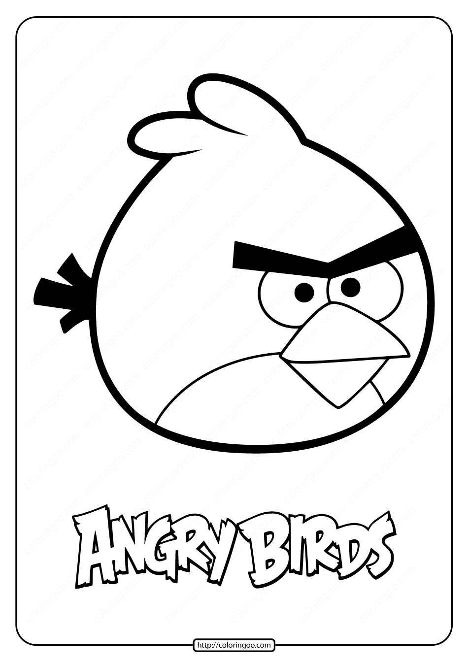 Printable Angry Birds Red Pdf Coloring Pages