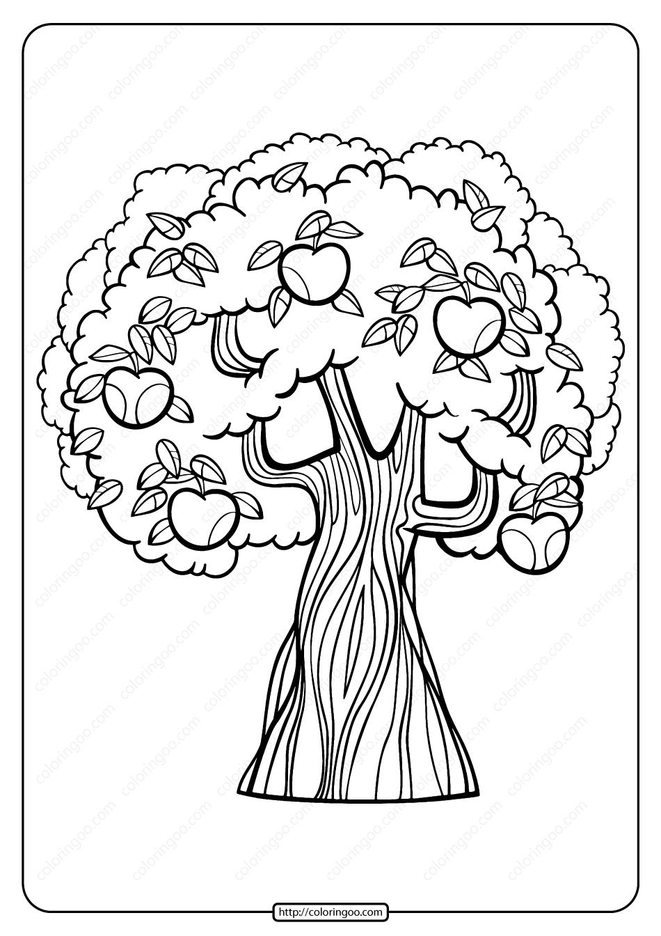 Printable Apple Tree Pdf Coloring Page