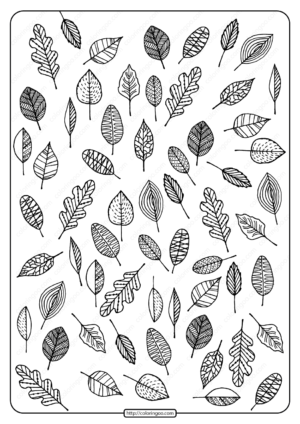Printable Autumn Leaves Pdf Coloring Page