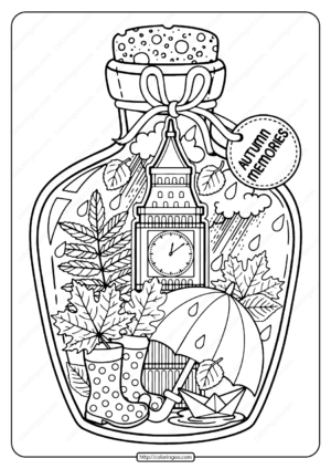 Printable Autumn Memories Pdf Coloring Page