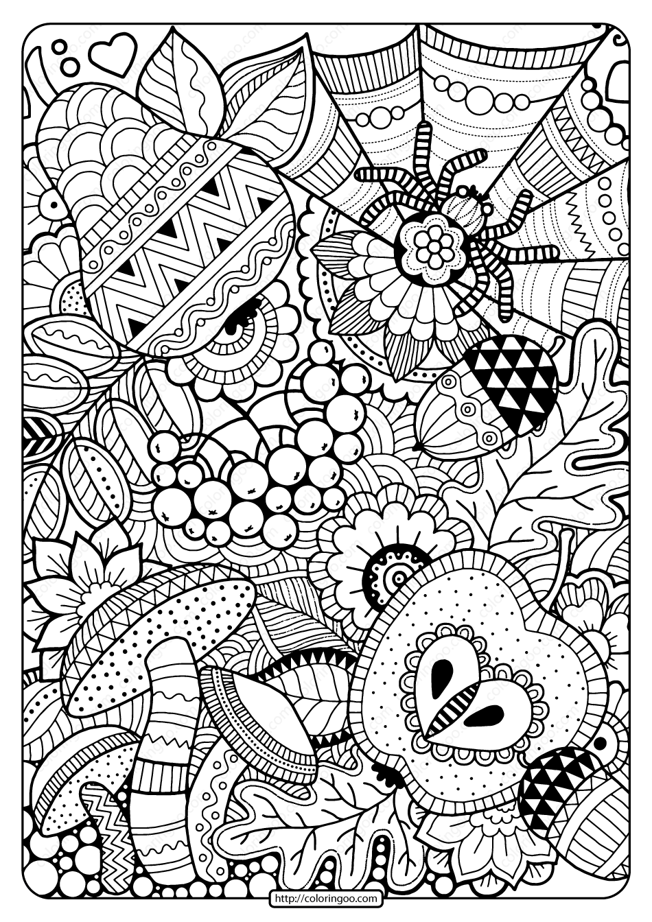 Printable Autumn Zentangle Coloring Page