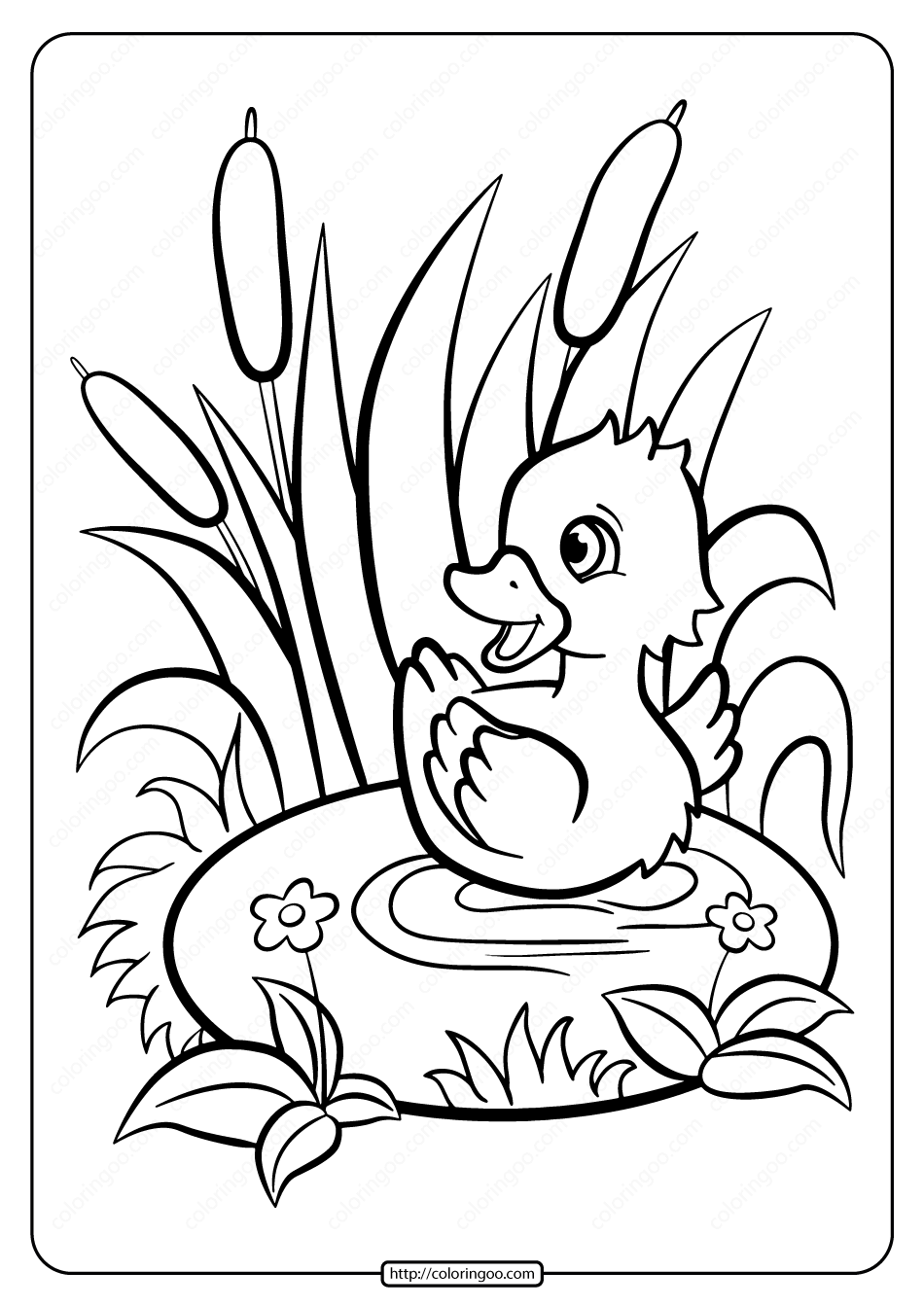 Printable Baby Duckling Pdf Coloring Page