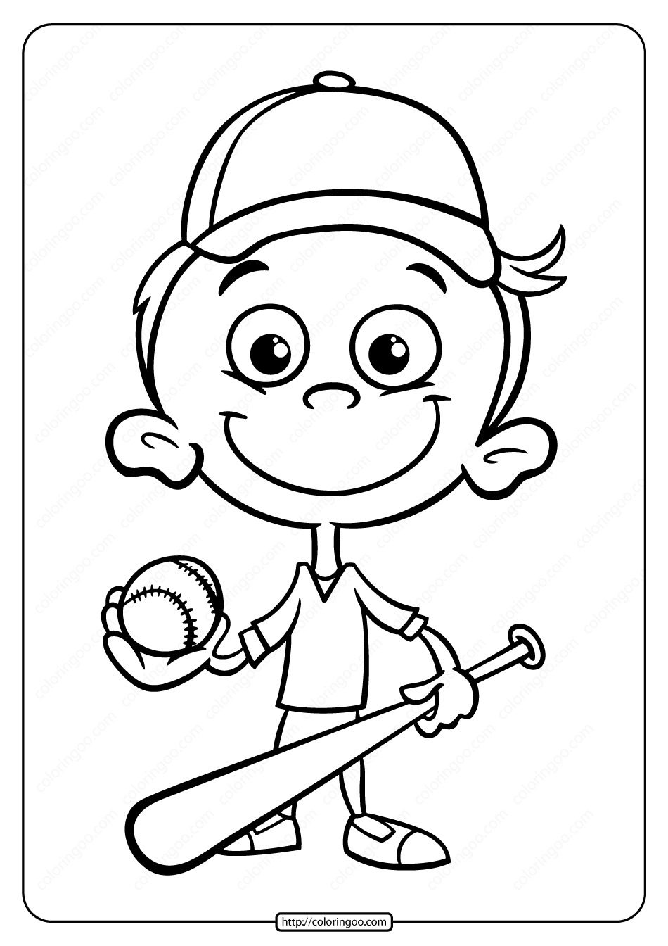 Printable Baseball Player Boy Coloring Page