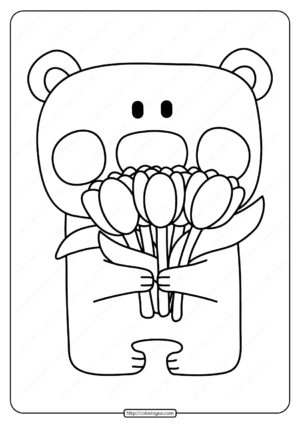 Printable Bear with Tulips Pdf Coloring Page