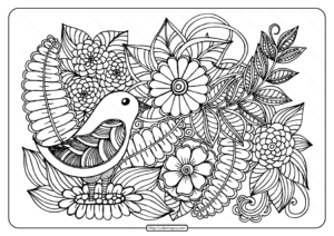 Printable Bird with Flowers Pdf Coloring Page