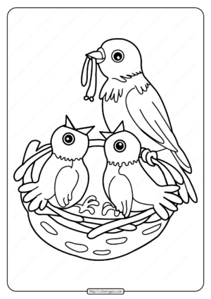 Printable Birds In The Nest Coloring Page