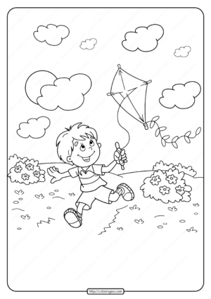Printable Boy Flying a Kite Pdf Coloring Page