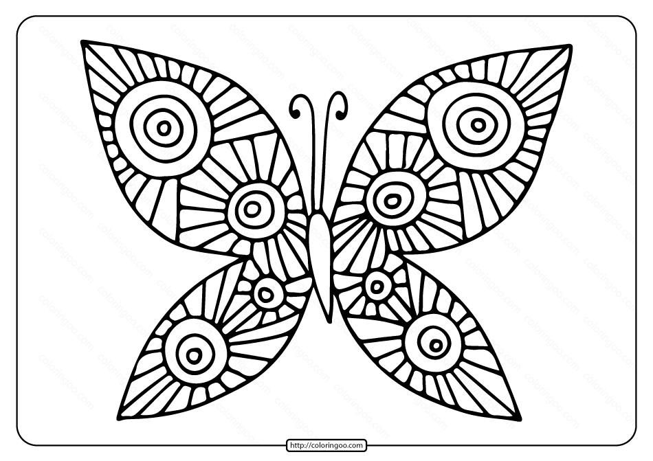 Printable Butterfly Pdf Coloring Page