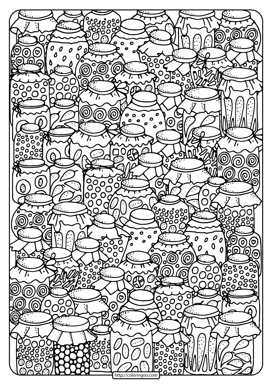 Printable Canning Jars Pdf Coloring Page