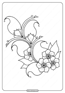 Printable Cherry Blossoms Pdf Coloring Page
