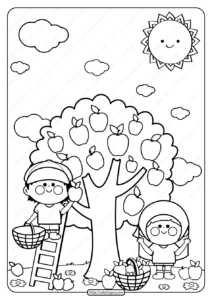 Printable Children Picking Apples Coloring Page