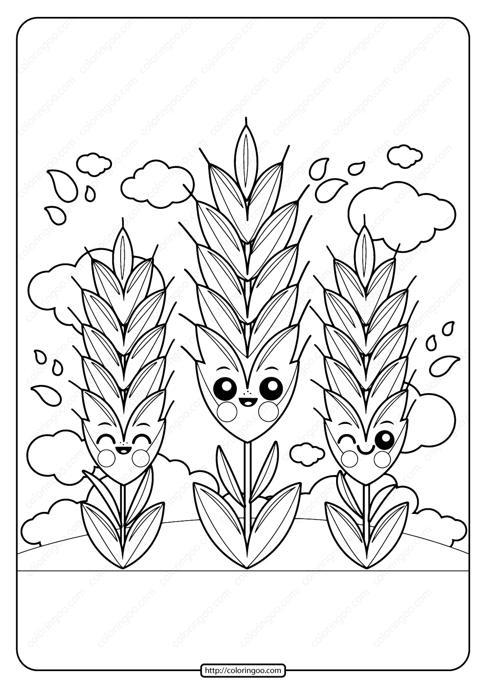 Printable Cute Wheat Pdf Coloring Page