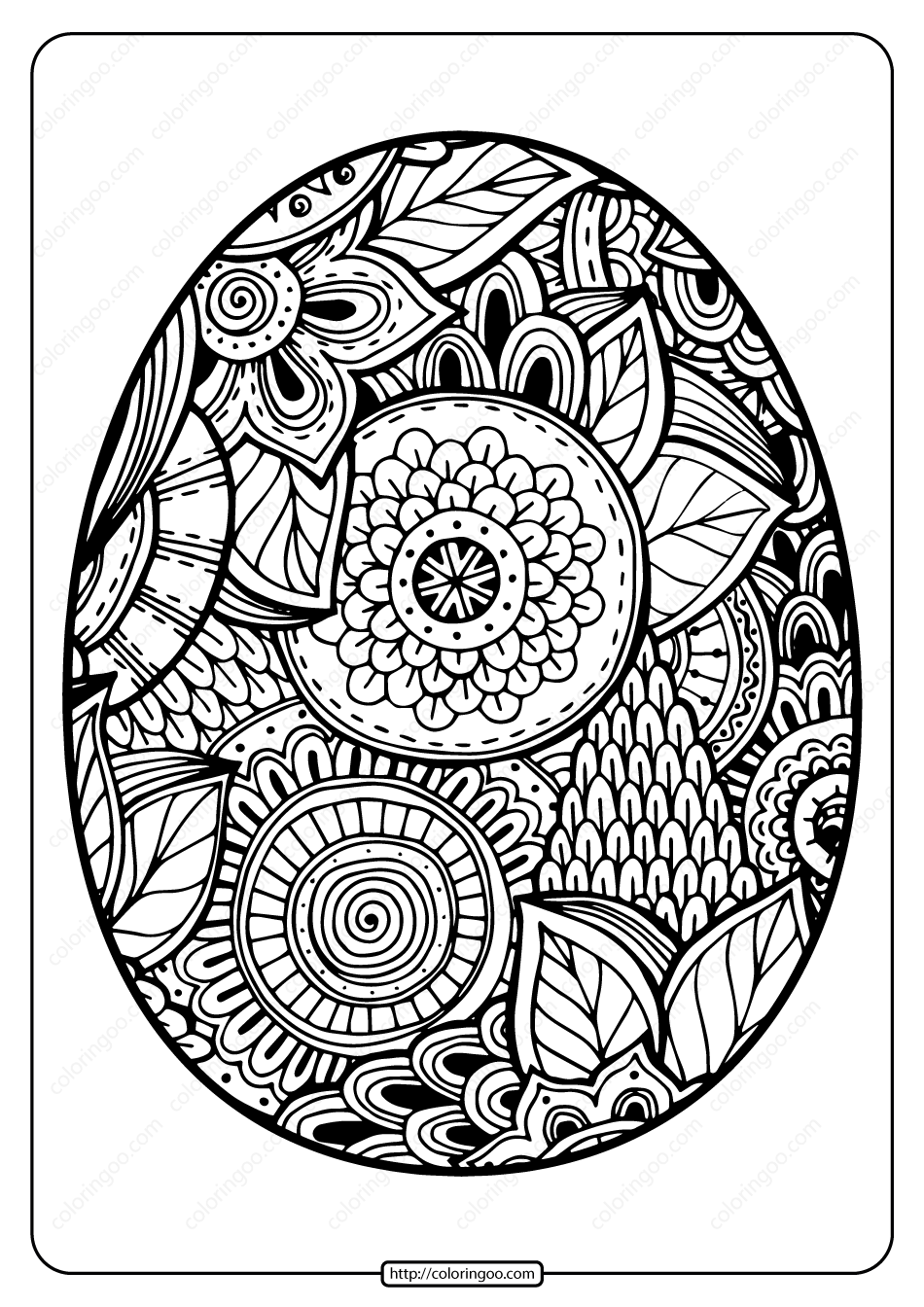 Printable Easter Egg Pdf Coloring Page