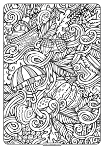 Printable Fall Doodles Pdf Coloring Page