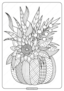 Printable Fall Pumpkin with Flower Coloring Page