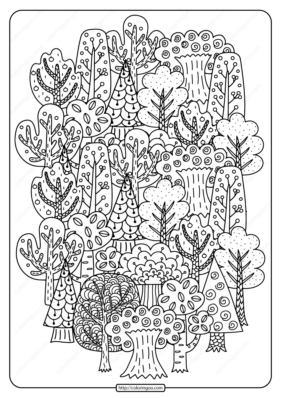 Printable Fall Trees Pdf Coloring Page