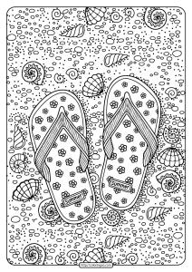 Printable Flip Flops Pdf Coloring Page