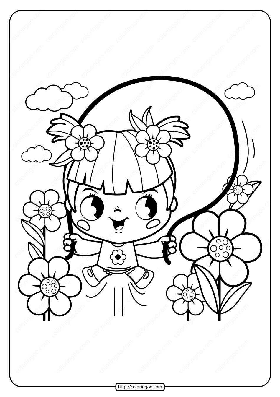 Printable Girl Playing Jump Rope Coloring Page