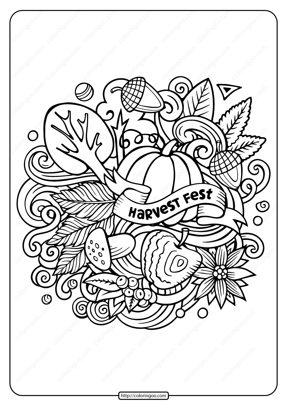 Printable Harvest Fest Pdf Coloring Page