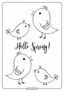 Printable Hello Spring Pdf Coloring Page