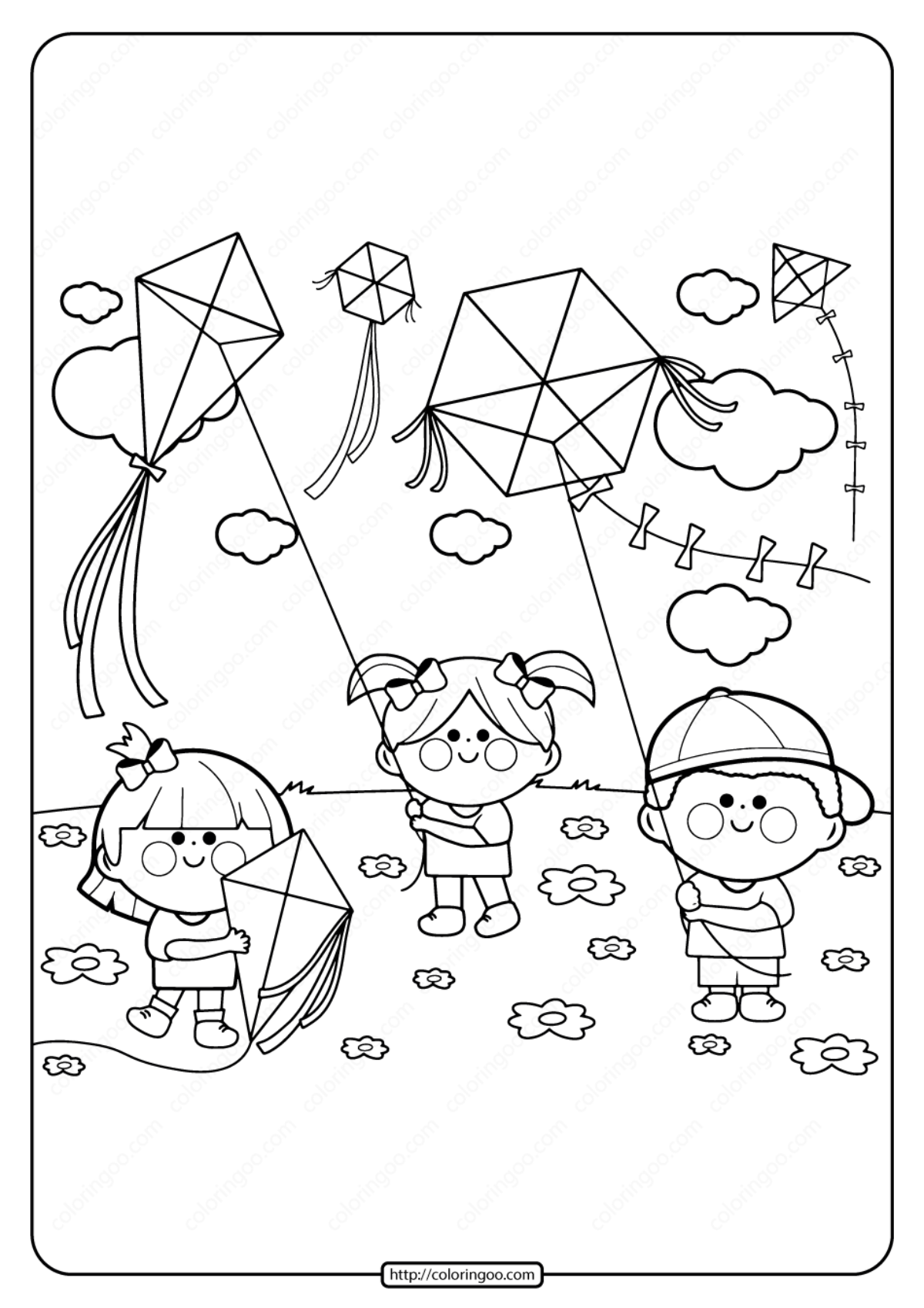 Kite coloring pages printable / Wind games | 1697x1200