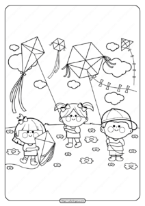 Printable Kids Flying Kites Pdf Coloring Page