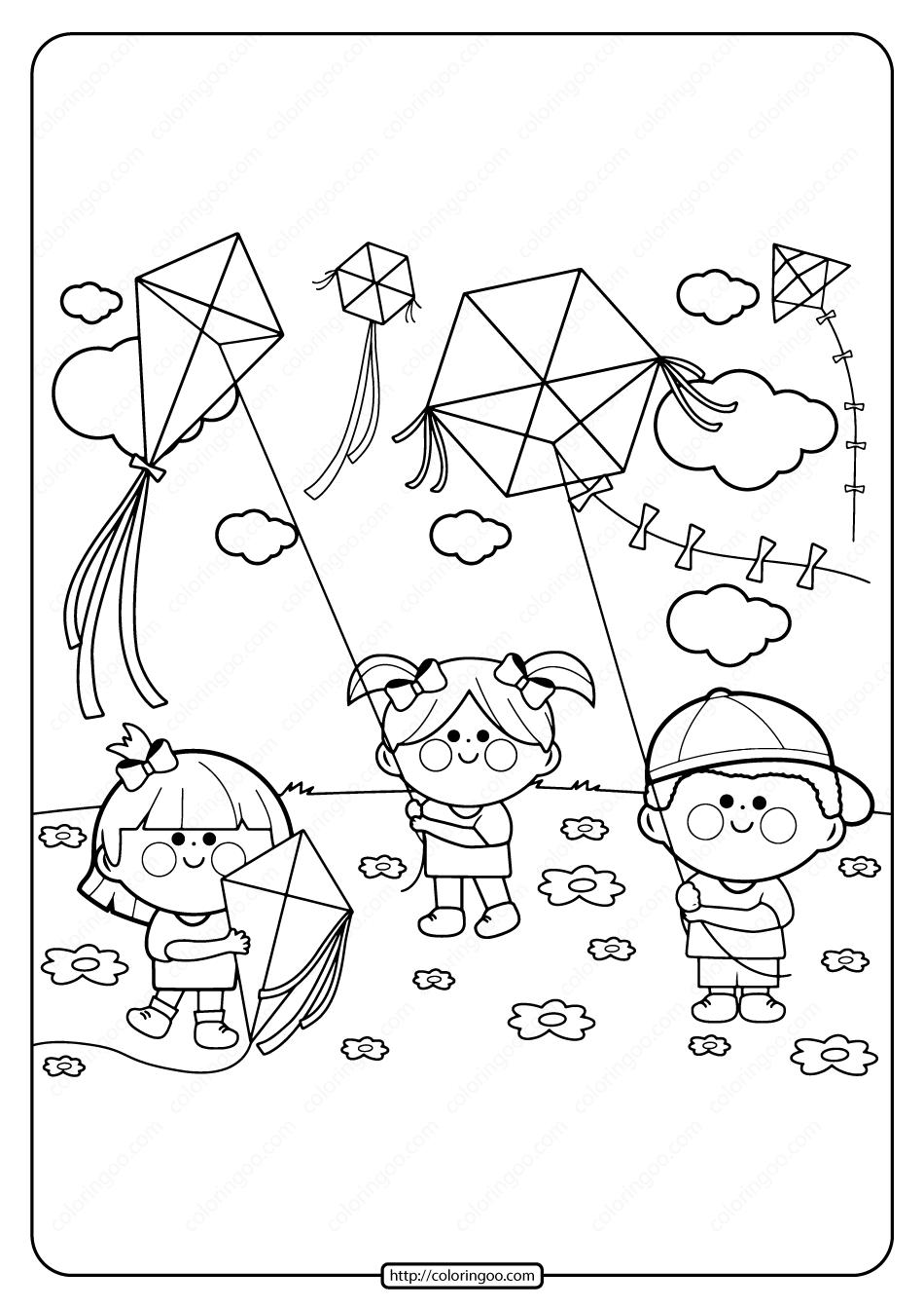 Printable Kids Flying Kites Pdf Coloring Page