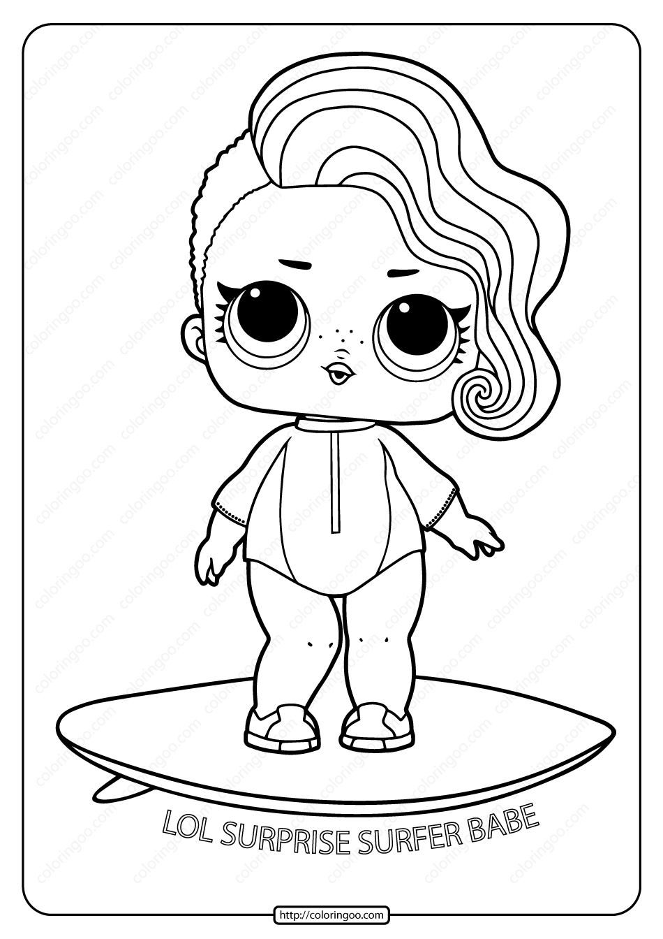 Printable Lol Surprise Surfer Babe Coloring Page