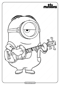 Printable Minions Play The Guitar Coloring Page