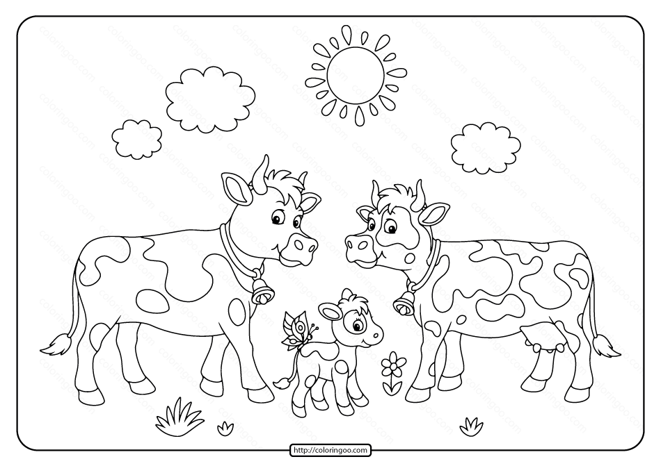 Printable Mom Dad and Baby Calf Coloring Page