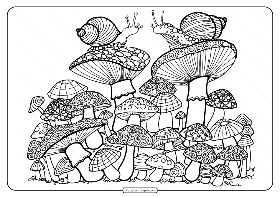 Printable Mushrooms Adult Coloring Book