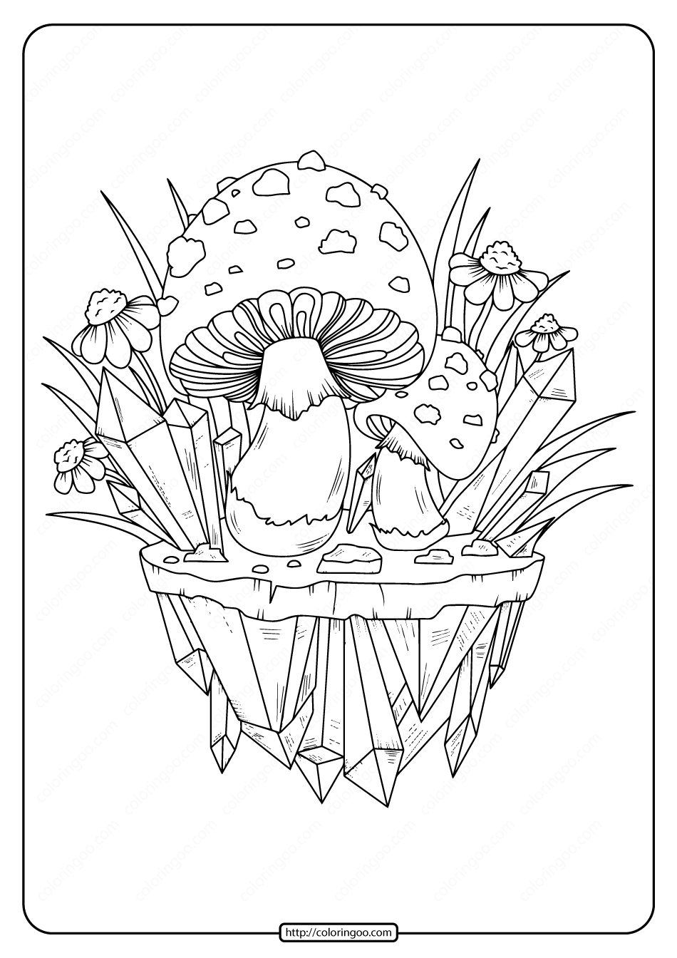 Printable Mushrooms Adult Coloring Page 02