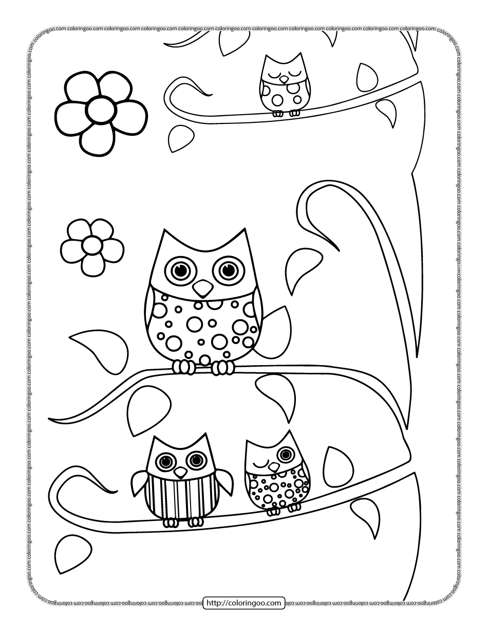 Printable Owls on the Branch Coloring Page