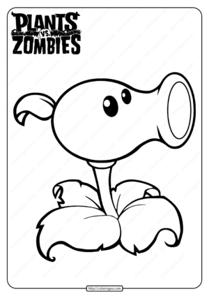 Plants vs Zombies Peashooter Coloring Page