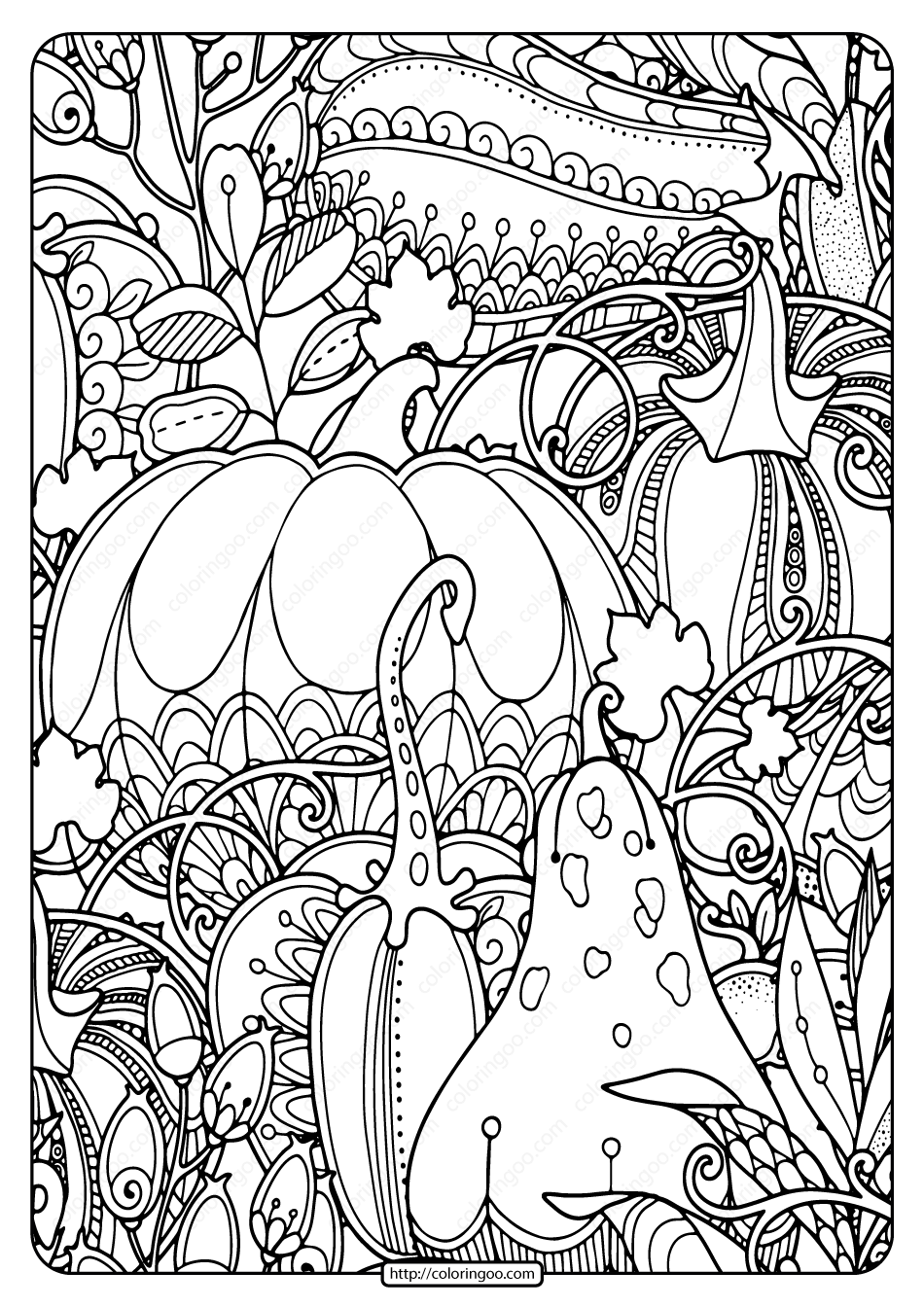 Printable Pumpkins Berries and Leaves Coloring Page