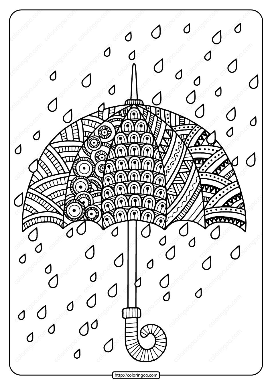 Printable Rain Drops with Umbrella Coloring Page