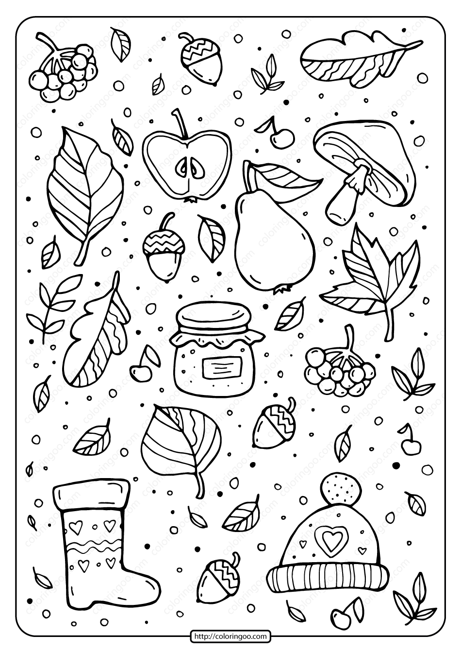 Printable Signs of Fall Pdf Coloring Page