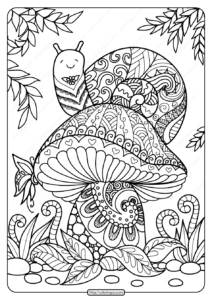 Printable Snail on a Mushroom Coloring Page