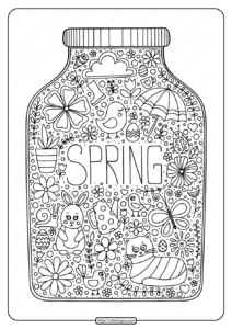 Printable Spring in a Jar Pdf Coloring Page