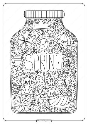 Printable Spring in a Jar Pdf Coloring Page
